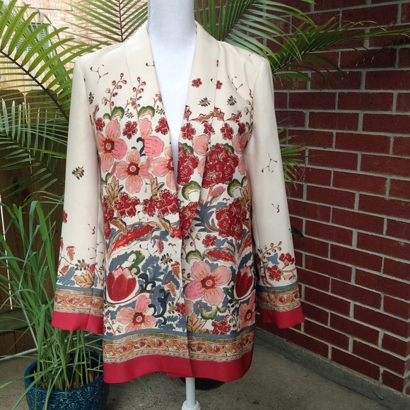 d1c6d867 Zara Jackets & Coats | Nwt Women Floral Design Blazer Large Career ...
